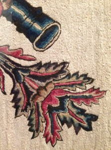 Detail Mexican embroidered hanging San Antonio Museum of Art