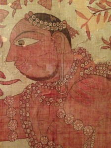 DetailL: Indian dye painted religious hanging